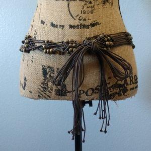 Brown Tie Beaded Western Belt Small / Medium